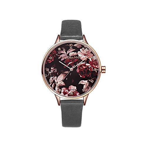 VICTORIA HYDE Women Floral Watch Flower Face Genuine Leather Strap Watches for Ladies