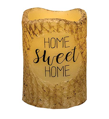 CWI Gifts Home Sweet Home LED Unscented Pillar Candle - 3 x 4.5 inch - Burnt Ivory Finish - Rolled in Real Cinammon - On/Off Switch - 6 Hour Timer - Home Decor Lighting