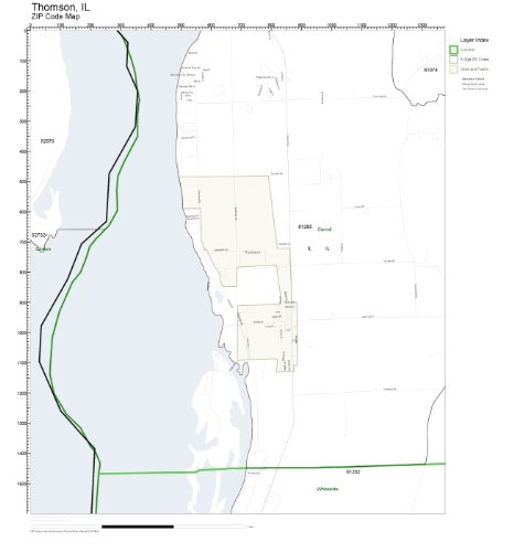 Thomson Illinois Map.Amazon Com Zip Code Wall Map Of Thomson Il Zip Code Map Not