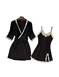 Chinashow Womens Satin Pajamas Set Sexy Ice Silk Suit Set Sleepwear/Nightwear Clothes, Black #A