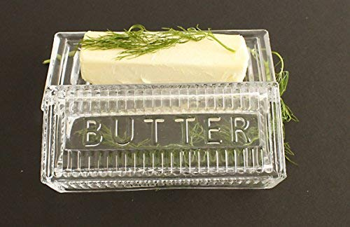 Glass Butter Dish with Lid Classic 2 Piece Design Lead-Free /& Dishwasher Safe