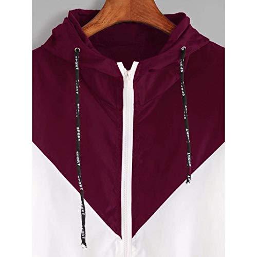 Cappotto Manica Giacca Primaverile Donna Rot Outdoor Moda Windbreaker Lunga Vento Autunno Con Sciolto Eleganti Incappucciato Casuale Sportivo Giacche Cerniera tqCHc1wZR