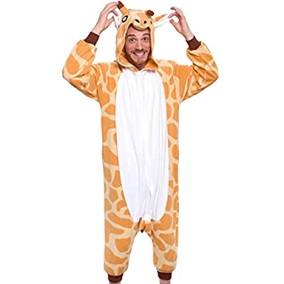 Silver Lilly Unisex Adult Pajamas - Plush One Piece Cosplay Giraffe Animal Costume