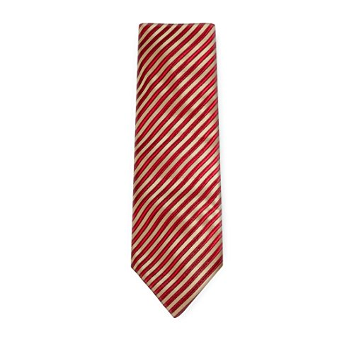 (Gold Stripes Designer Mens Ties Red Birthday Gifts Husband Discount Silk Neckties Cuff Set A2099 One Size red,gold)