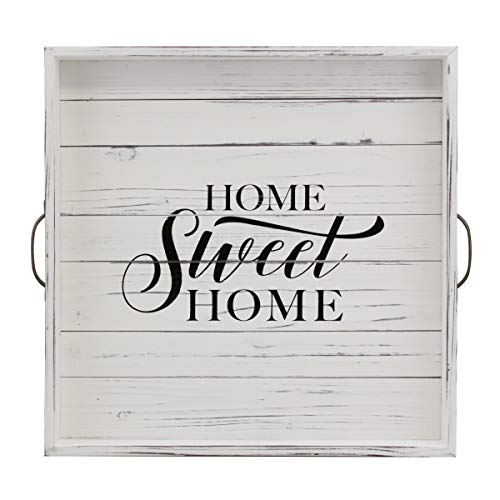 Stonebriar Square Worn White Sweet Home Wooden Serving Tray with Metal Handles (With Serving Handles Wooden Tray Metal)
