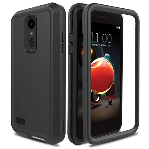 AMENQ Case for LG Aristo 2/LG Tribute Empire/LG Tribute Dynasty/LG Rebel 3 L158VL/LG Rebel 4 LTE, 3 in 1 Heavy Duty Shockproof with Rugged Hard PC and TPU Bumper Protective Armor Phone Cover-Black (Phone Case For Lg 3)
