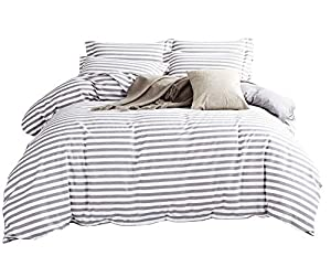 Delbou Tree Duvet Cover Set,Striped Duvet Cover,Contrast 2 Tone Reversible Comforter Cover,Zipper Closure,Christmas Bedding Set,Bed Linen Quilt Cover Sets,White Duvet Cover with Grey Stripes,Queen