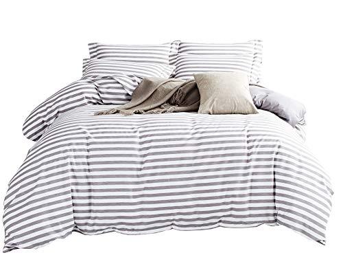 DelbouTree Duvet Cover Set,Striped Duvet Cover,Contrast 2 Tone Reversible Comforter Cover,Zipper Closure,Bed Linen Quilt Cover Sets,White Duvet Cover with Grey Stripes,Queen