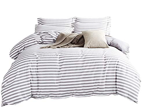 King Size Stripes Duvet Cover - DelbouTree 3 Pieces Bedding Set,Reversible Duvet Cover Sets,White Duvet Cover Reverse to Solid Grey,Striped Duvet Cover,Quilt Cover Sets,King Comforter Cover with Zipper Closure and Corner Ties