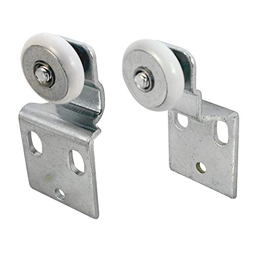 Prime-Line N 7533 Sliding Closet Door Roller Kit, 3/4 in. Wheel Diameter, Convex (Round) Edge Plastic, Stamped Steel Construction, Includes 3/8 in. and 1/2 in. Offset Pairs, Pack of 4 (Doors Thin Closet Sliding)