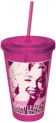 ICUP Marilyn Monroe Gentlemen Prefer Blondes Film Headshot Plastic Cup with Straw, 16-Ounce, Pink