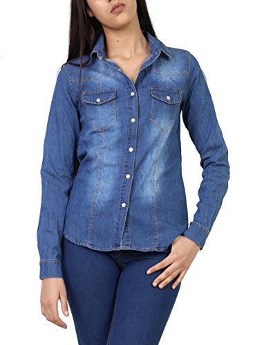 Stretch Camicia Giacca Jeans Taglia A Con 1 Denim Manica Di Donna E S Giubbino Lunga Casual Xl xSXqCEwW1