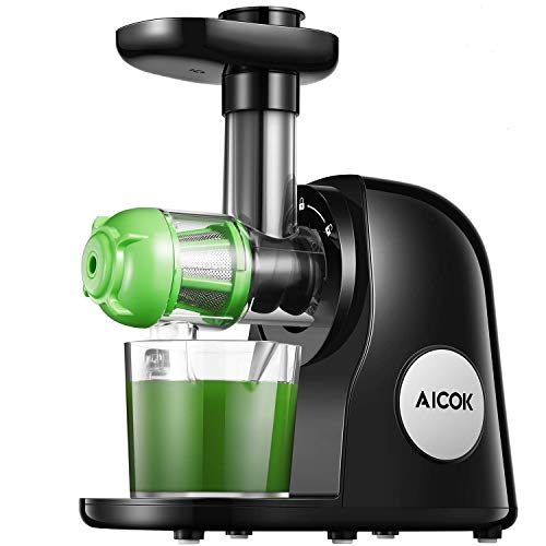 Aicok Juicer Slow Masticating Juicer Extractor, Cold Press Juicer Machine, Quiet Motor and Reverse Function, with Juice Jug and Brush to Clean Conveniently, High Nutrient Fruit and Vegetable Juice