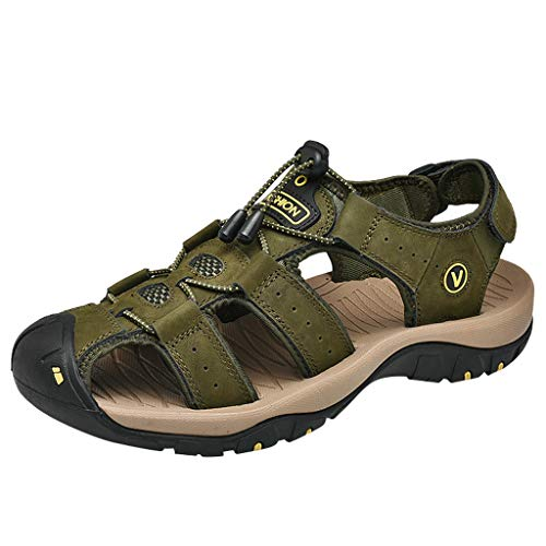 Ballad Outdoor Athletic Sandals for Mens Leather Flats Casual Beach Shoes Breathable Hiking Sport Sandals Army Green
