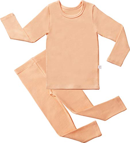 AVAUMA Baby Boys Girls Solid Pring Pj Set Kids Pajamas Long Sleeve Cotton (Orange-1 JL) ()