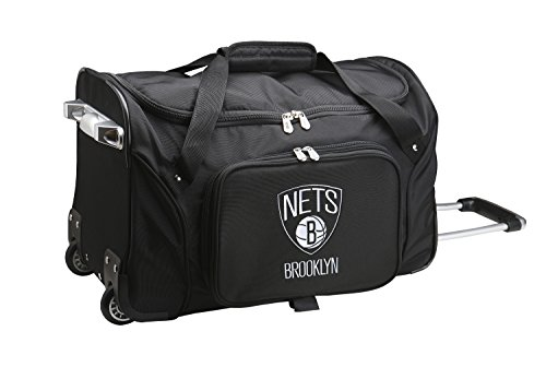 NBA Brooklyn Nets Wheeled Duffle Bag, 22 x 12 x 5.5'', Black by Denco