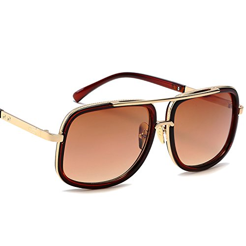 Eyerno Retro Aviator Sunglasses For Men Women Vintage Square Designer Sun - Thom Sunglasses Brown