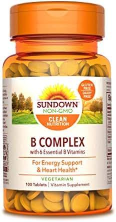 Sundown Vitamin B Complex 100% RDV, 100 Tablets (Pack of 3)(Packaging May Vary)