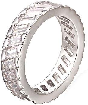 エタニティリング ペアリング カップル指輪 メンズ/レディース アクセサリー ジルコニア 5mm プラチナメッキ[R2388]