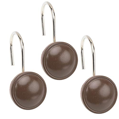 (Sweet Home Collection Color Rounds Resin Shower Curtain Hooks in Brown)