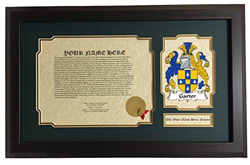 Garter - Coat of Arms and Last Name History, 14x22 Inches Matted and Framed