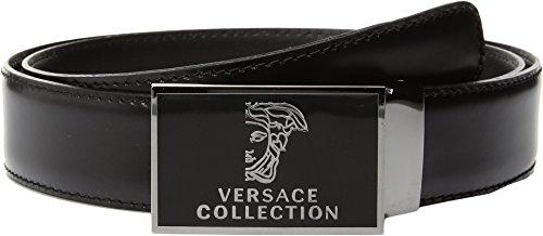 Versace Collection  Men's Logo Plaque Buckle Belt Black Belt