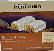 Nutmeg State Nutrition High Protein Snack and Meal Replacement Bar/Diet Bars - Shortbread Cookie (7ct) - Trans Fat Free, Aspartame Free, Kosher, High Fiber