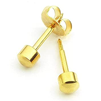 Mytoptrendz® 2 pair Yellow Gold Plated Bezel Setting Clear Crystal Sterilized Piercing Stud Earrings RUtgA