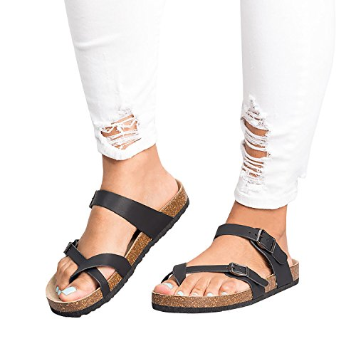 Womens Flat Sandals Front Double Buckle Flip Flop Gladiator Thong Slip On Summer Beach (Double Strap Gladiator Sandal)