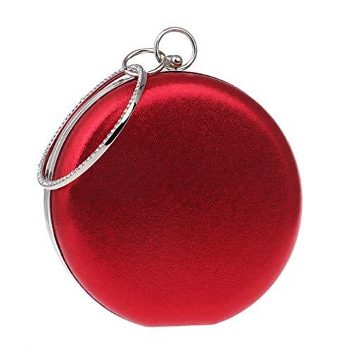 argento Borsa Borsa pelle moda donna Borsa motivo vita in alta tonda rosso in floreale donna pelle Rrock con q8gqxaR