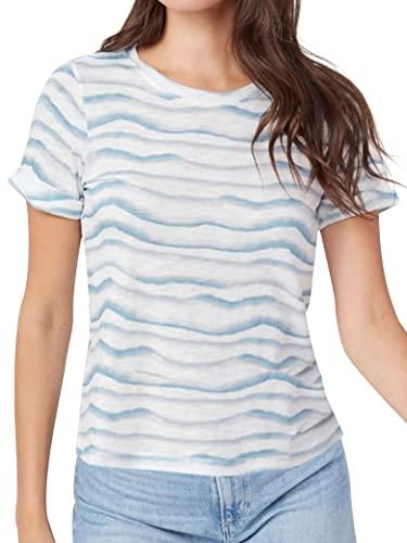 PLNCAYFZ Women Crew Neck Short Sleeve Tee Wave Stripes Print Casual Cotton T-Shirt Light Blue