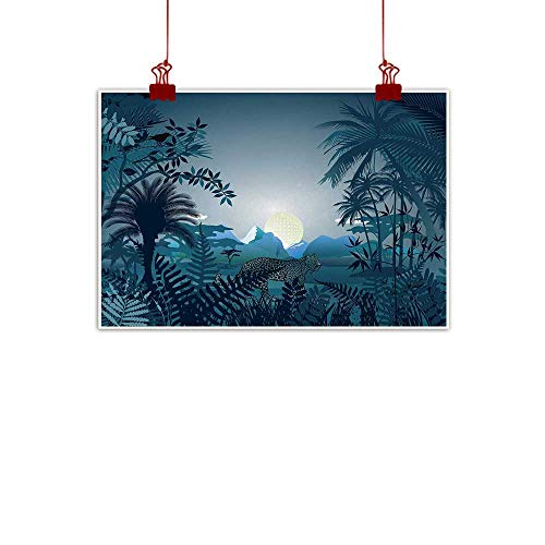 duommhome Jungle Wall Art Decor Poster Painting Night in The Rainforest Jungle with Wild Tiger Animal Moon Light Palm Shrubs Hazy Graphic for Living Room Bedroom Hallway Office W24 xL20 ()