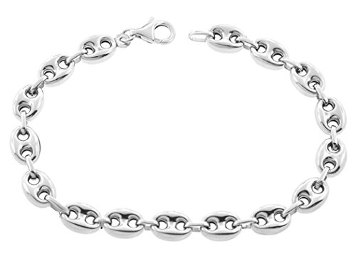 Mariner Bracelet (.925 Sterling Silver Mens Puff Mariner / Marina Chain Necklace - Puff Anchpr chain 8