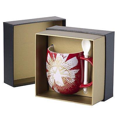 Starbucks Christmas Taiwan 2014 Star Mug Cup Gift Set w/ Spoon Xmas 12oz Red (Starbucks Gift Sets Christmas)