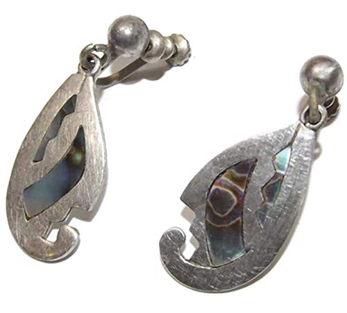 Pair Vintage Sterling Silver Mexican Signed Earrings with Abalone Inlay