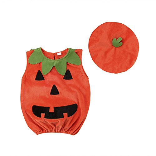 Toddler Infant Baby Boy Girl Pumpkin Halloween Costumes Romper Bodysuit Outfit with Hat 80/0-6 Months for $<!--$17.99-->