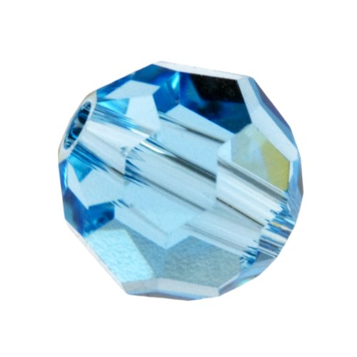 - 8mm Aquamarine 5000 Round Swarovski Crystal Beads - Pack Of 6