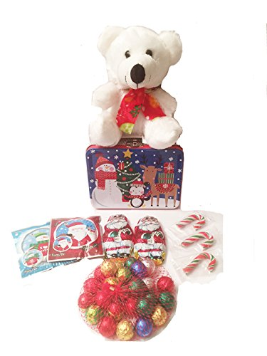 Santa Claus Candy Cane (Christmas Holiday Teddy Bear Bundle with Milk Chocolate Candy, Caramel Santa Claus Candy, Cherry Flavored Mini Candy Canes, and Two Balloons in a Tin Lunchbox (White 2))