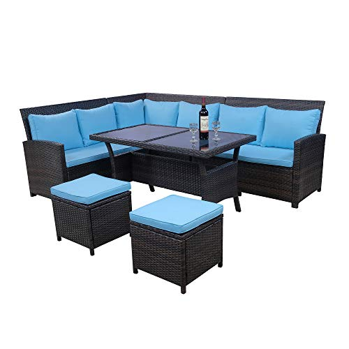 LZ LEISURE ZONE 6-Piece Patio Dining Sets, PE Rattan Sectional Outdoor Patio Furniture Wicker Sofa with Two Stools and Standard Height Table, Blue Cushions