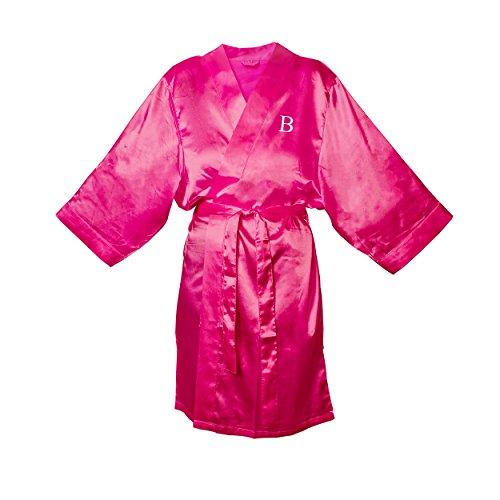 Cathy's Concepts Personalized Fuschia Satin Robe, S/M, Le...