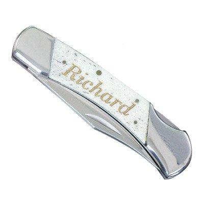 Engraved Stainless Blade (GiftsForYouNow Engraved White Bone Folding Knife, Blade measures 3 1/4