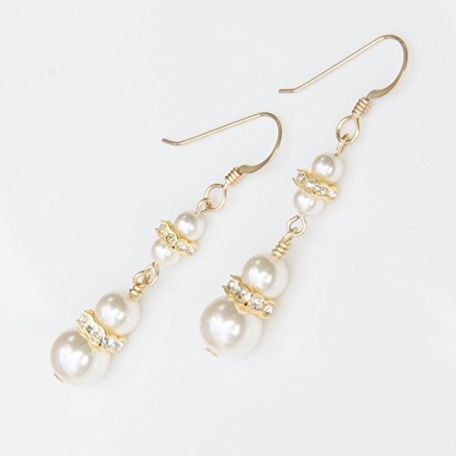 Two Tier 14K Gold-Filled Earrings with Ivory-Colored Swarovski Simulated Pearls (14k Gold Filled Dangle Earrings)