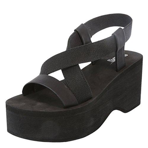Brash Femmes Romy Plate-forme Wedge Sandale Noir