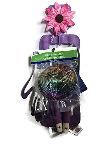 Purple Rake - Mother's Day Purple Wind Twister 7-Piece Gardening Tool Set: Purple Kneeling Pad, Shovel, Rake, Shears, Purple/White Gardening Gloves, Hanging Spiral Wind Twister and Fashionable Flower Fly Squatter!