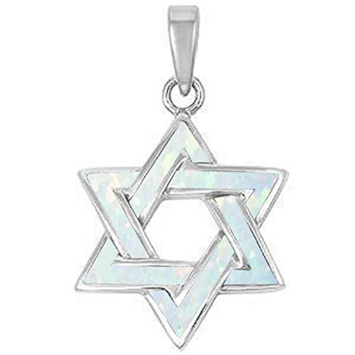 Oxford Diamond Co Lab Created Opal Star of David .925 Sterling Silver Pendant Blue or White (Lab Created White Opal)