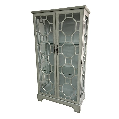 One Door Curio - Crestview Wood Cabinets Evelyn 2 Door Painted Grey Glass Curio With Fretwork 36 X 67 X 18 Inches Gray Model # CVFZR1836