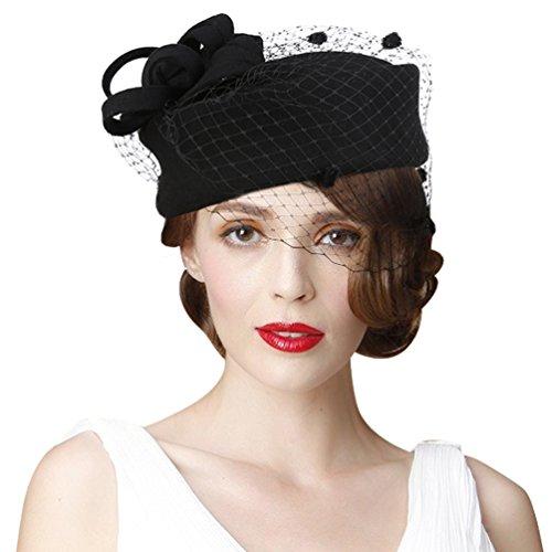VBIGER Women Fascinator Hats Derby Wedding Hats Vintage Hat Pillbox Hat Woollen Felt Hat Bow Veil Party Hat for Women (Black 5)