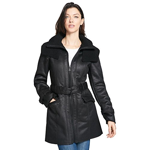 Coat Walker Leather (Wilsons Leather Womens Web Buster Kenneth Cole Belted Fauxshearling Walker Coat)