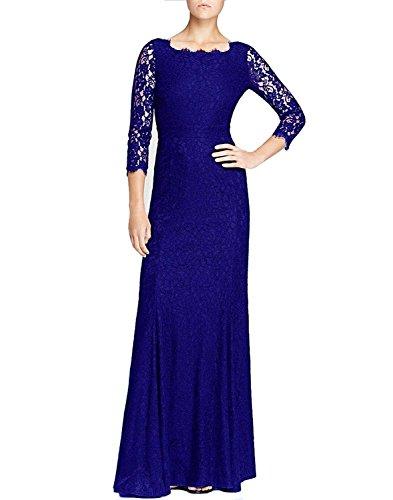 HanLuckyStars Vestido de Noche Largo Encaje Elegante con 3/4 Mangas para Mujer (Negro/Azul) Azul