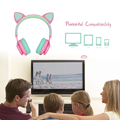 Riwbox Bluetooth Headphones, Riwbox CT-7 Cat Ear LED Light Up Wireless Foldable Headphones Over Ear with Microphone and Volume Control for iPhone/iPad/Smartphones/Laptop/PC/TV (Pink&Green)